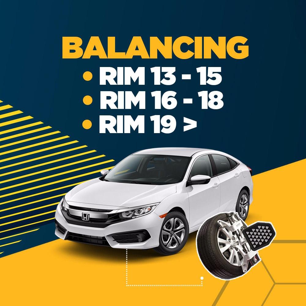 Balancing (4 Roda) + Free Check-up 58 komponen kendaraan