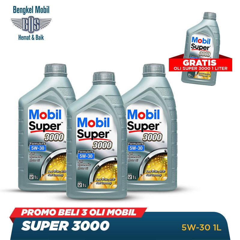 Promo Beli 3 Oli Mobil Super 3000 5W-30 - LITER-Beli 3 Gratis 1