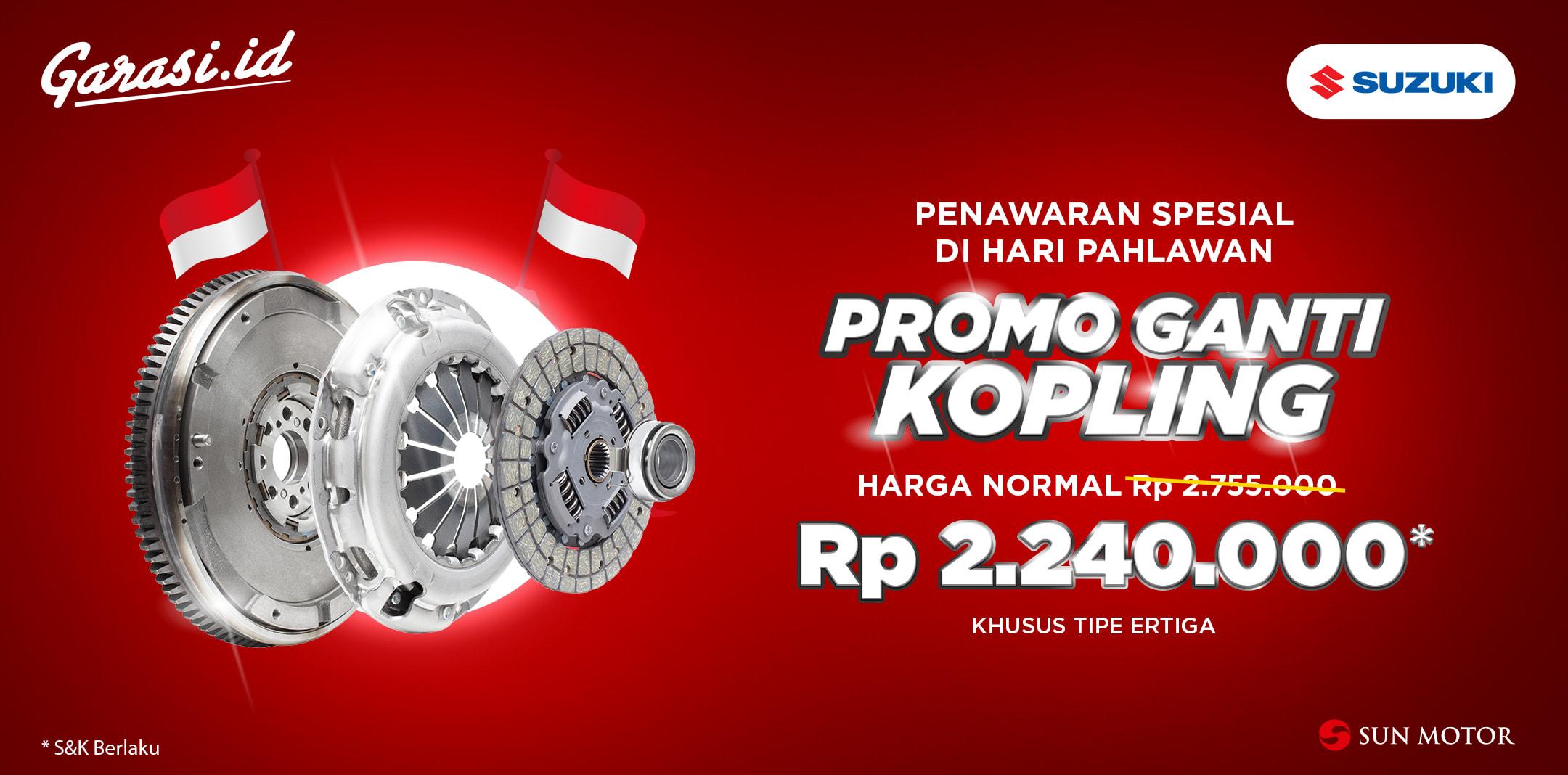 Promo hemat **Ganti Kopling** untuk mobil Suzuki Ertiga kesayangan Anda.
