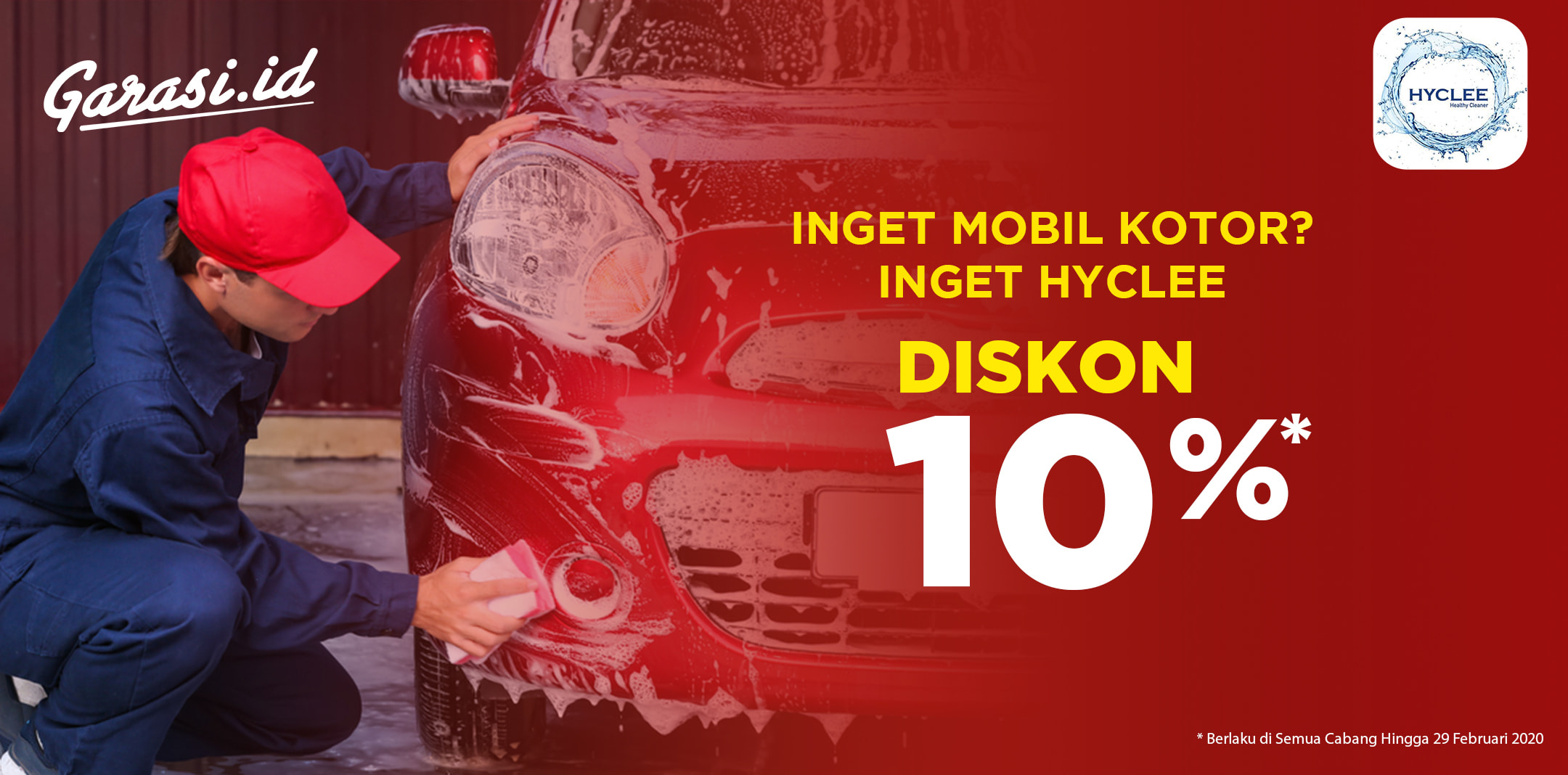 **Home Service** Cocok buat kalian yang sibuk, dapatkan promo 10% cuci mobil  di Hyclee