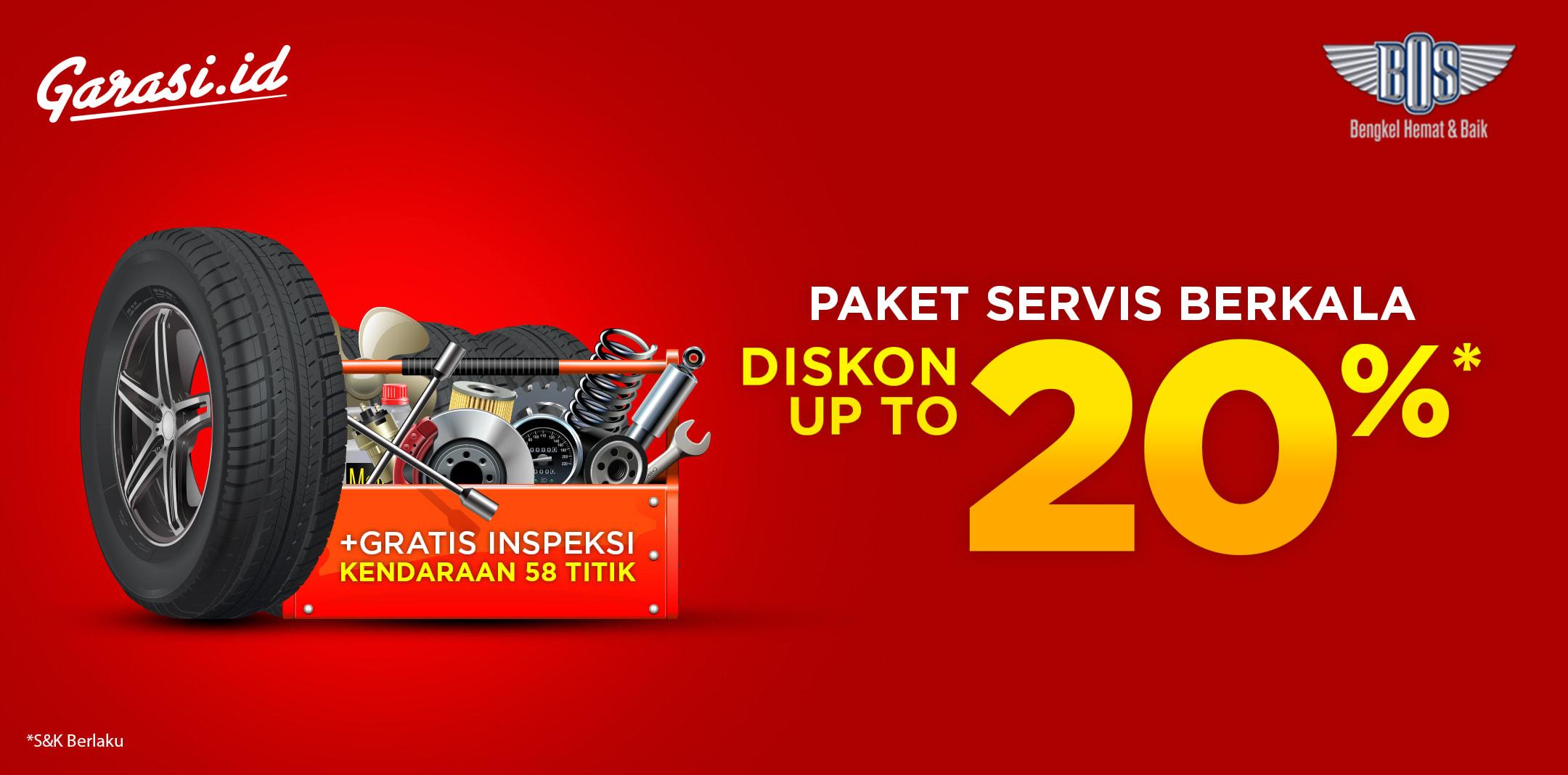Servis mudah dan cepat di Bengkel Bos, Diskon 20% untuk semua produk Servis Berkala