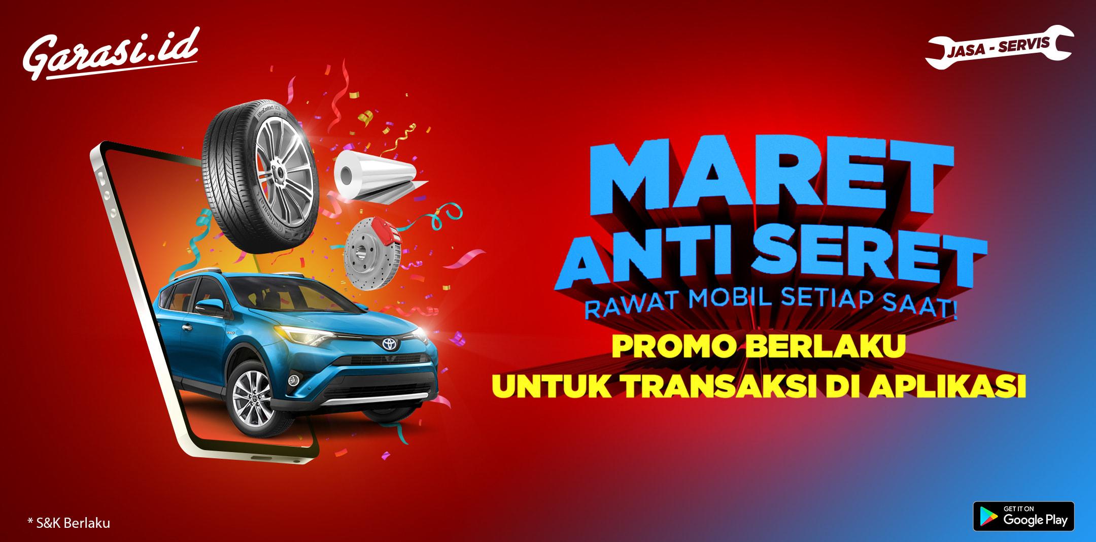 Dapatkan Diskon 20% hingga Rp 50 ribu untuk SEMUA produk Perawatan Mobil di Jasa dan Servis Garasi.id!