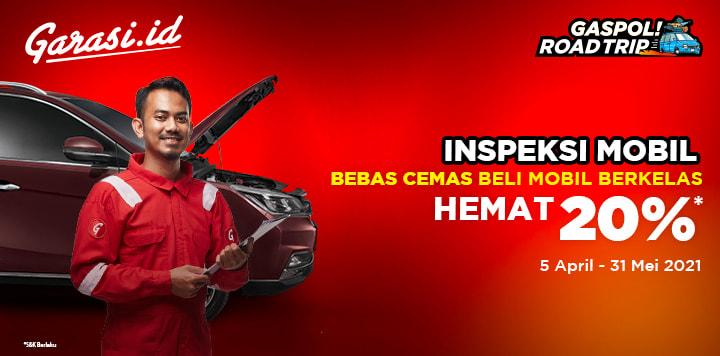 Bebas cemas beli mobil bekas dengan promo diskon 20% untuk jasa inspeksi mobil bekas oleh inspektor Garasi.id.