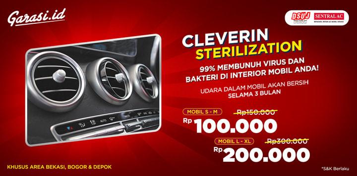 Dapatkan Promo Cleverin Sterilization 99 % Membunuh Virus dan Bakteri di Interior Mobil mulai dari 100rb aja!