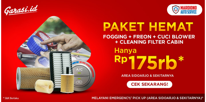 Promo Bengkel Mardiono : Fogging + Freon + Cuci Blower + Cleaning Filter Cabin Hanya Rp 175.000